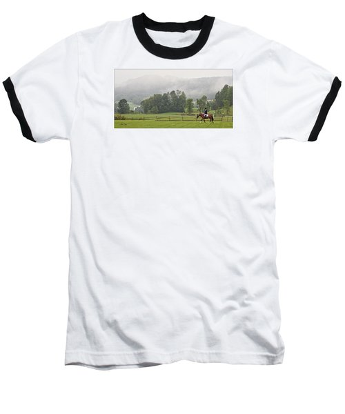 Baseball T-Shirt featuring the photograph Misty Morning Ride by Joan Davis