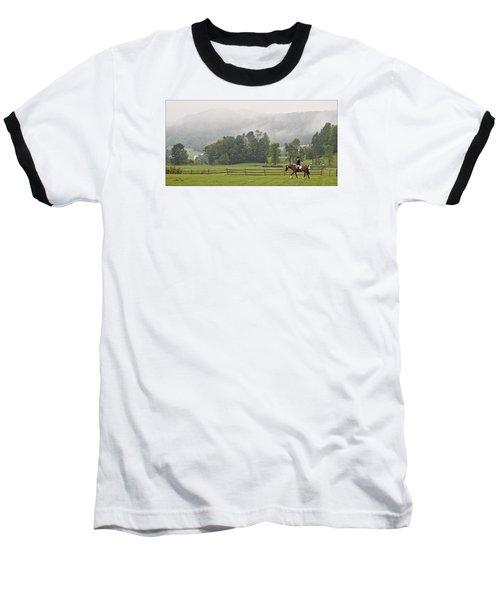 Misty Morning Ride Baseball T-Shirt by Joan Davis