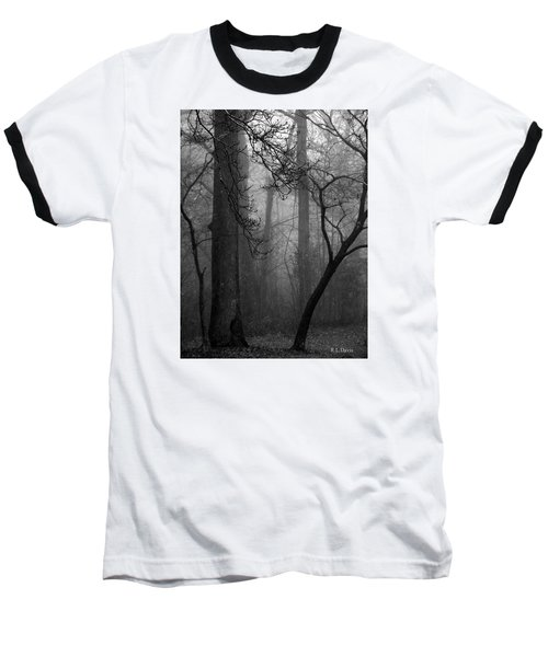 Misty Woods Baseball T-Shirt by Rebecca Davis