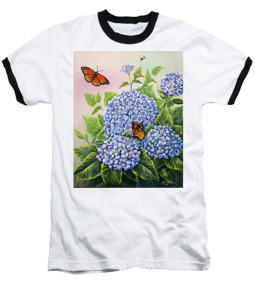 Monarchs And Hydrangeas Baseball T-Shirt by Gail Butler