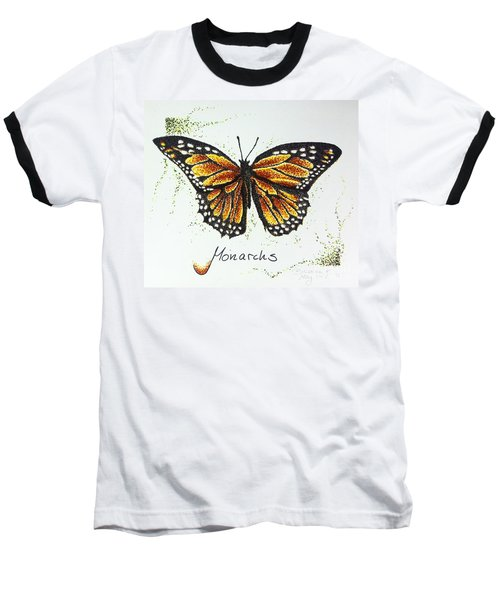 Monarchs - Butterfly Baseball T-Shirt by Katharina Filus