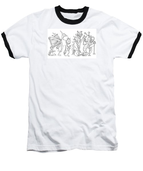 Monster  Queue Baseball T-Shirt