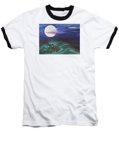 Baseball T-Shirt featuring the painting Moon Showers by Cheryl Bailey