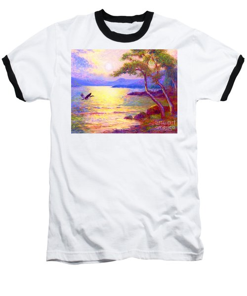 Baseball T-Shirt featuring the painting  Wild Goose, Moon Song by Jane Small