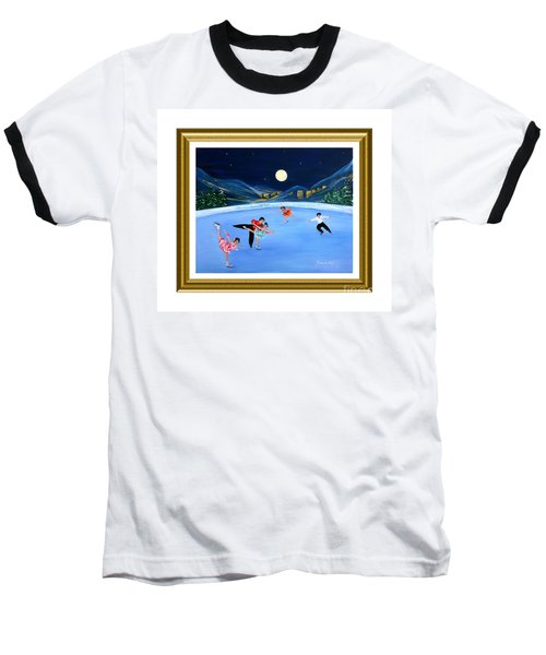 Moonlight Skating. Inspirations Collection. Card Baseball T-Shirt
