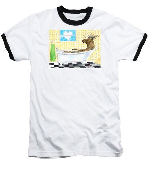 Moose Bath Baseball T-Shirt by LeAnne Sowa