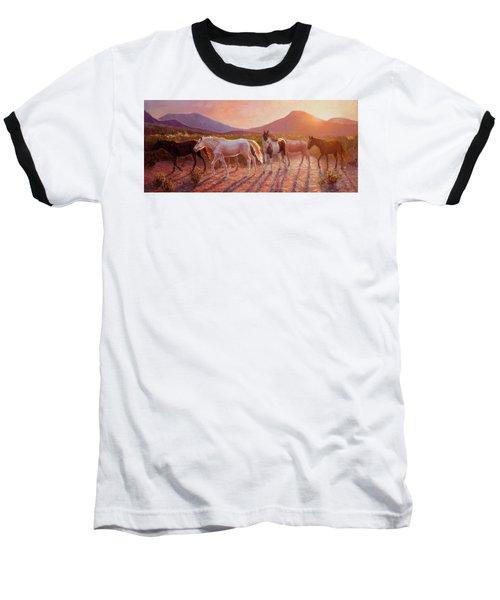 More Than Light Arizona Sunset And Wild Horses Baseball T-Shirt