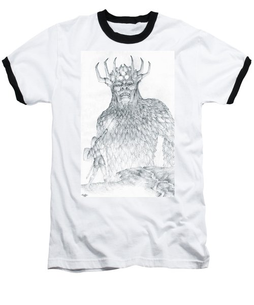 Baseball T-Shirt featuring the drawing Morgoth And Fingolfin by Curtiss Shaffer