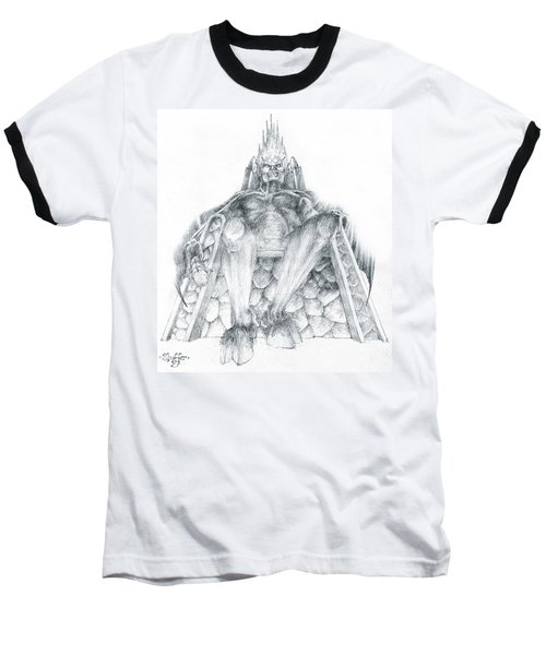 Baseball T-Shirt featuring the drawing Morgoth Bauglir by Curtiss Shaffer
