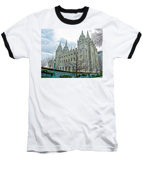 Mormon Temple In Early Spring Baseball T-Shirt by Gary Holmes