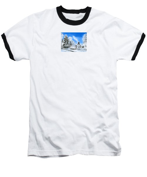 Baseball T-Shirt featuring the painting Morning After The Snowstorm  by Jean Pacheco Ravinski