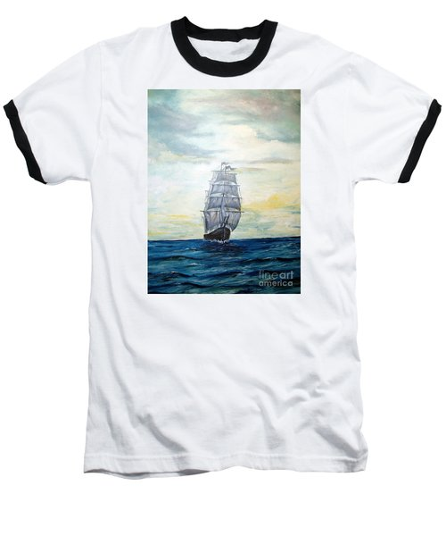 Baseball T-Shirt featuring the painting Morning Light On The Atlantic by Lee Piper