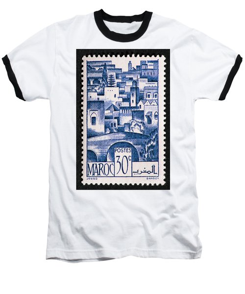 Morocco Vintage Postage Stamp Baseball T-Shirt by Andy Prendy