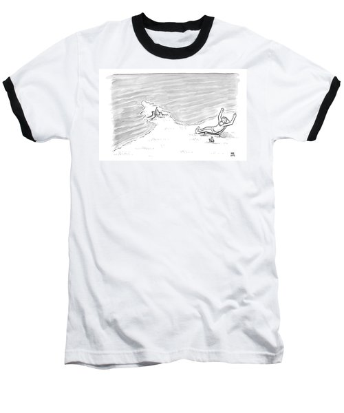 Moses Is Laying On A Beach Chair Parting The Sea Baseball T-Shirt