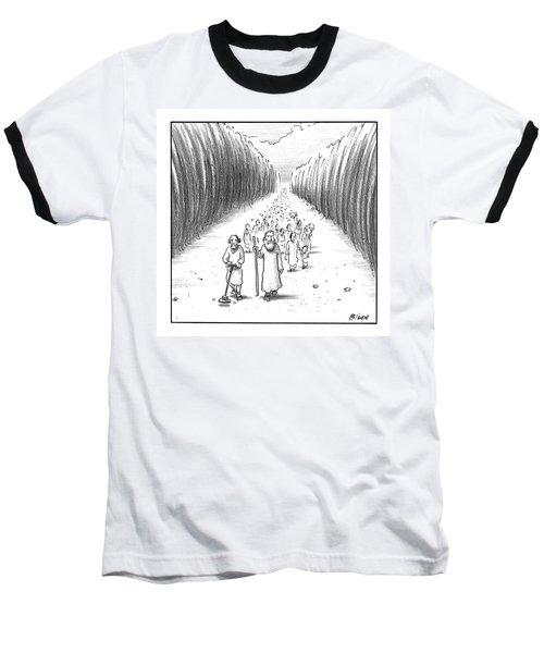 Moses Walks Through The Parted Sea Baseball T-Shirt