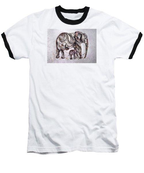 Mother Elephant Baseball T-Shirt
