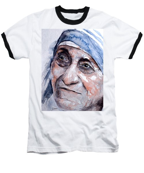 Mother Theresa Watercolor Baseball T-Shirt