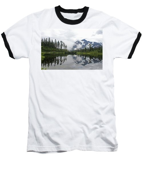 Mount Baker- Lake- Fir Trees And  Fog Baseball T-Shirt by Tom Janca