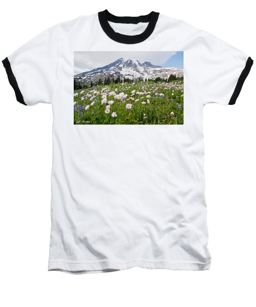 Baseball T-Shirt featuring the photograph Mount Rainier And A Meadow Of Aster by Jeff Goulden