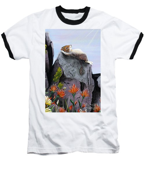 Baseball T-Shirt featuring the painting Ms. Elizabeth Taking In The Rays by Jennifer Lake
