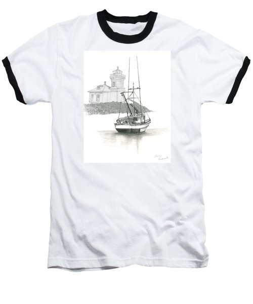 Baseball T-Shirt featuring the drawing Mukilteo Lighthouse by Terry Frederick