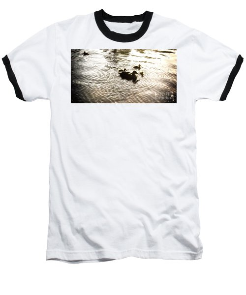Mumma Duck And Ducklings Baseball T-Shirt