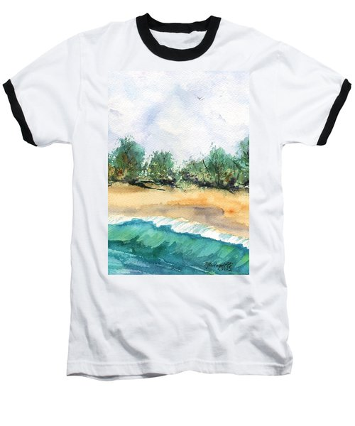 Baseball T-Shirt featuring the painting My Secret Beach by Marionette Taboniar