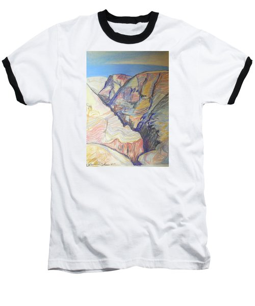 Baseball T-Shirt featuring the drawing Nachal Darga Canyon by Esther Newman-Cohen