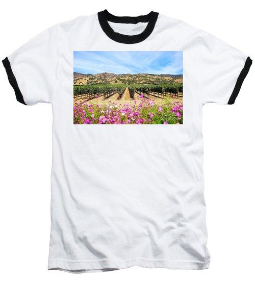 Napa Valley Vineyard With Cosmos Baseball T-Shirt