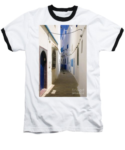 Baseball T-Shirt featuring the photograph Narrow Backstreet In The Medina Of Asilah On Northwest Tip Of Atlantic Coast Of Morocco by Ralph A  Ledergerber-Photography