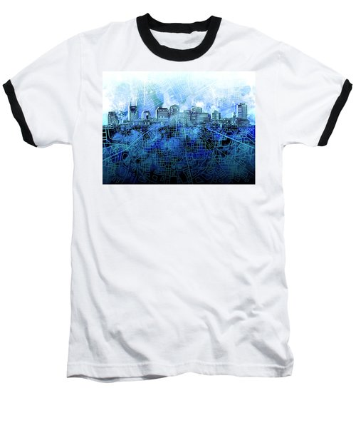 Nashville Skyline Watercolor 3 Baseball T-Shirt