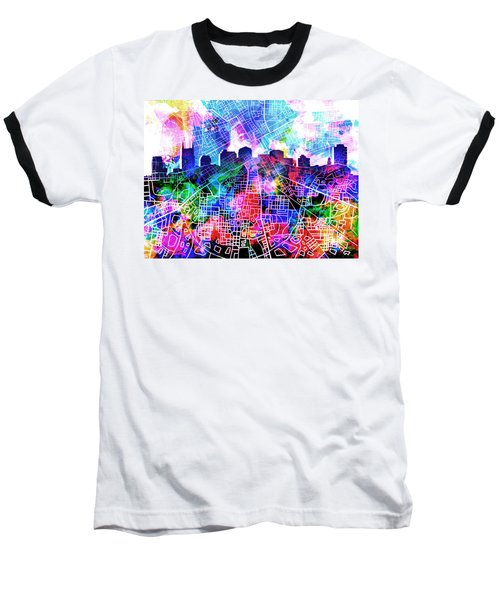 Nashville Skyline Watercolor 5 Baseball T-Shirt