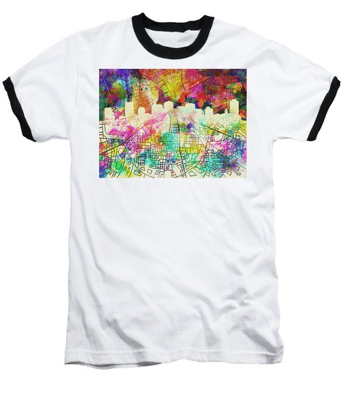 Nashville Skyline Watercolor 7 Baseball T-Shirt