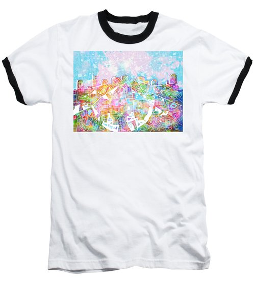 Nashville Skyline Watercolor 8 Baseball T-Shirt