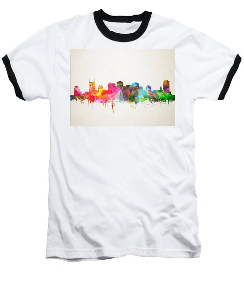 Nashville Skyline Watercolor 9 Baseball T-Shirt