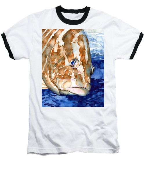 Nassau Grouper Portrait Baseball T-Shirt