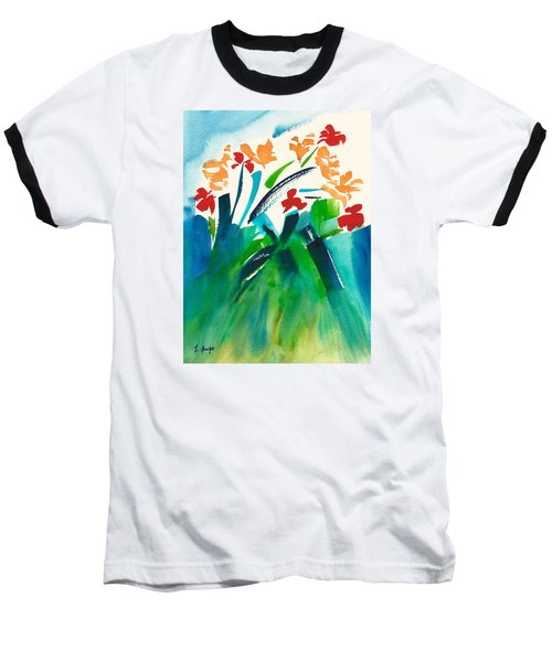 Baseball T-Shirt featuring the painting Natures Bouquet Abstract by Frank Bright