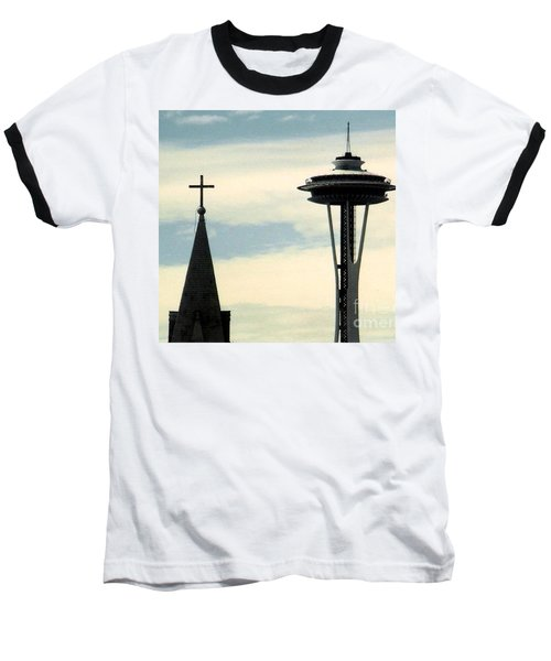 Baseball T-Shirt featuring the photograph Seattle Washington Space  Needle Steeple And Cross by Michael Hoard