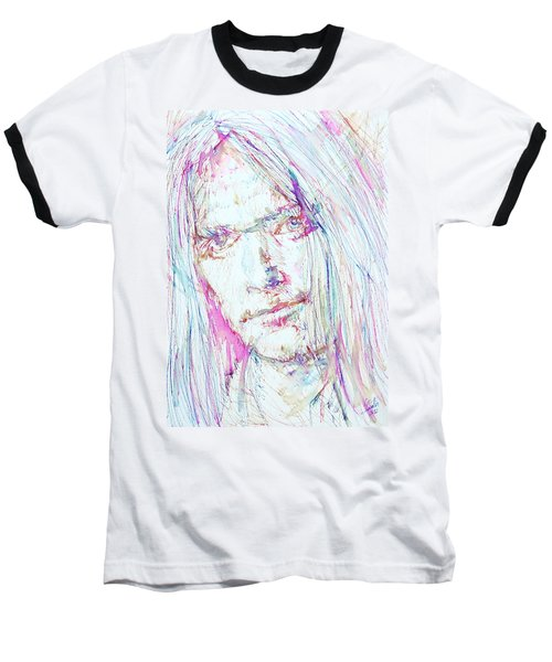 Neil Young - Colored Pens Portrait Baseball T-Shirt