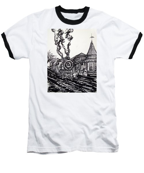 New Hope Train Station Sketch Baseball T-Shirt by Loretta Luglio