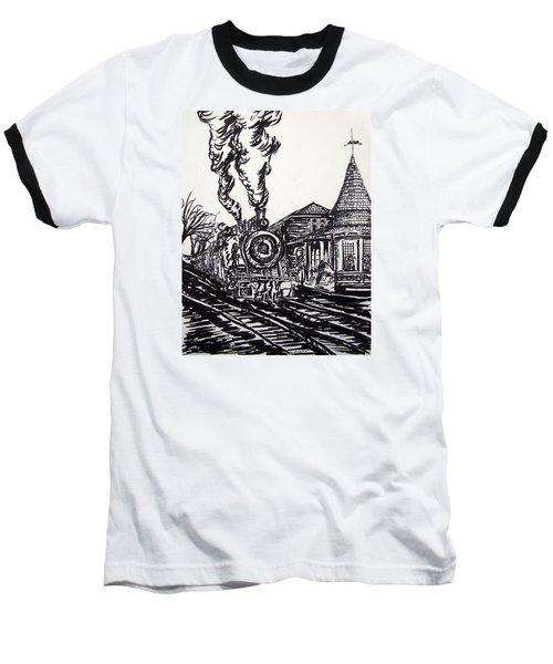 New Hope Train Station Sketch Baseball T-Shirt