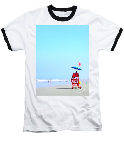 Baseball T-Shirt featuring the digital art New Smyrna Lifeguard by Valerie Reeves