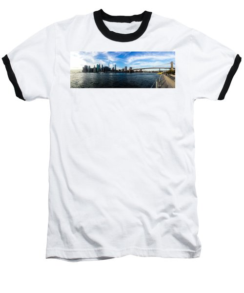 New York Skyline - Color Baseball T-Shirt by Nicklas Gustafsson