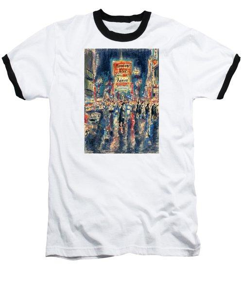 New York Times Square 79 - Watercolor Art Painting Baseball T-Shirt