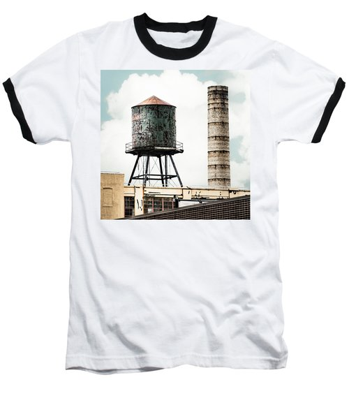Water Tower And Smokestack In Brooklyn New York - New York Water Tower 12 Baseball T-Shirt