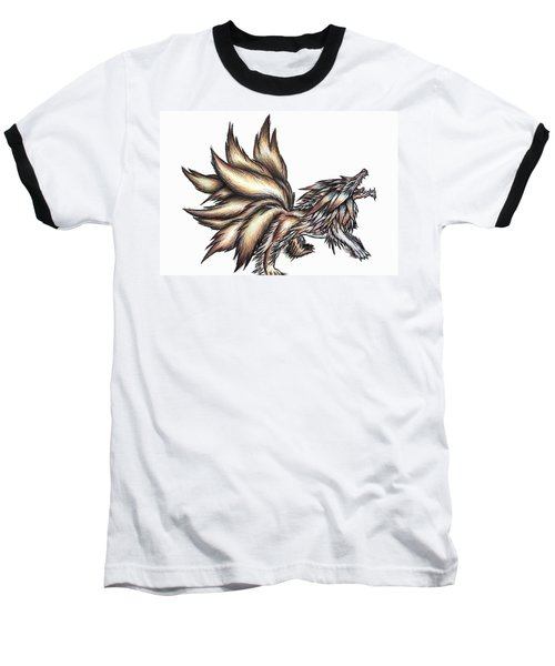 Nine Tails Wolf Demon Baseball T-Shirt by Shawn Dall
