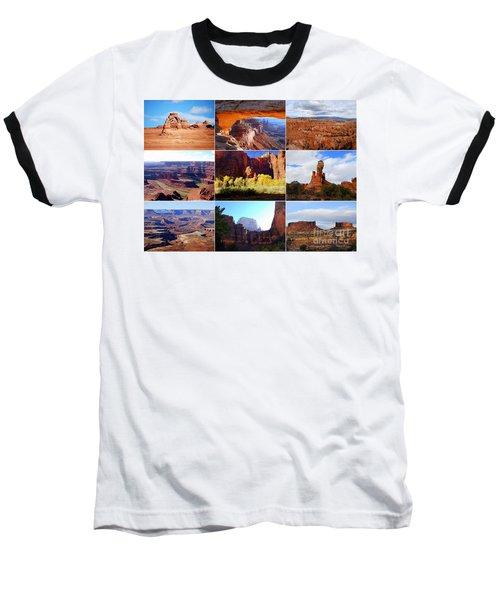 Nine Utah Landmarks Baseball T-Shirt by Catherine Sherman
