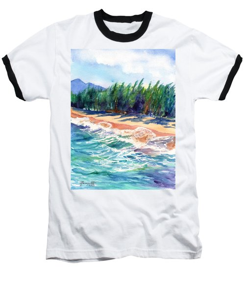 Baseball T-Shirt featuring the painting North Shore Beach 2 by Marionette Taboniar