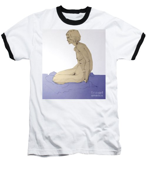 Baseball T-Shirt featuring the drawing Nude Figure In Blue by Greta Corens