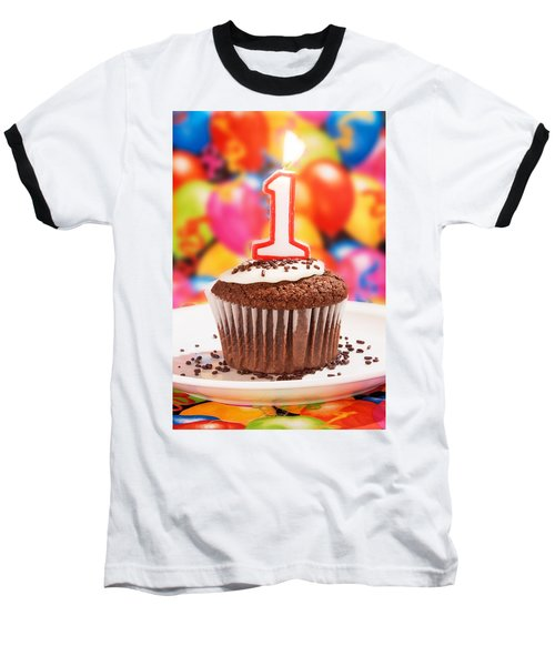 Baseball T-Shirt featuring the photograph Chocolate Cupcake With One Burning Candle by Vizual Studio